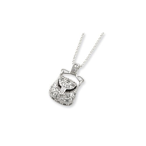 Jewelryweb Sterling Silver CZ Purse Pendant18 Chain Necklace - 18 Inch