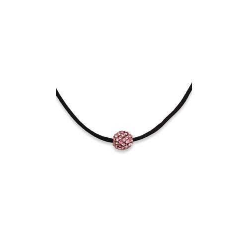 Jewelryweb Black-plated Crystal Fireball 16 Inch With ext Satin Cord Necklace