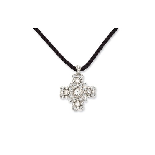 Jewelryweb Silver-tone Crystal Cross 16 InchWith ext Cord Necklace