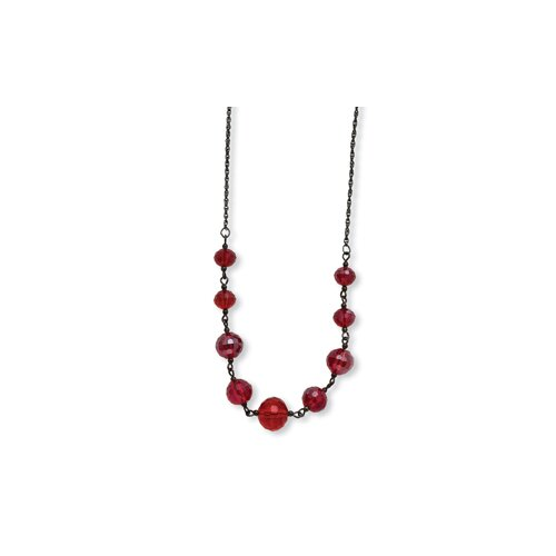 Jewelryweb Black-plated Red Crystal Beaded 16 InchWith ext Necklace