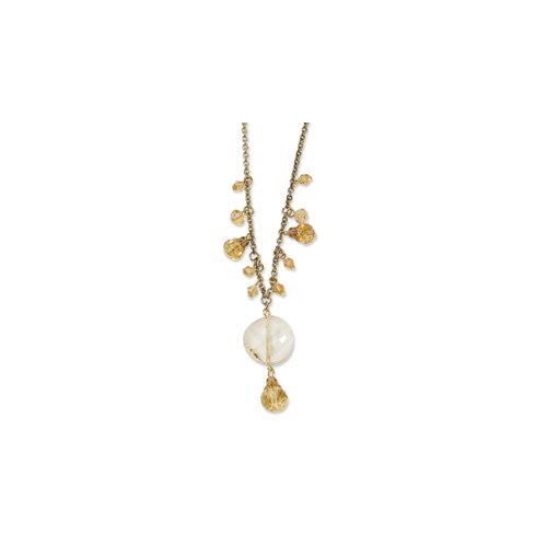 Jewelryweb Gold-tone Yellow Crystal Drop 16 InchWith ext Necklace