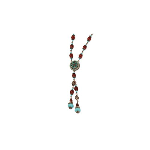 Copper-tone Aqua and Brown Beads 22inch Necklace