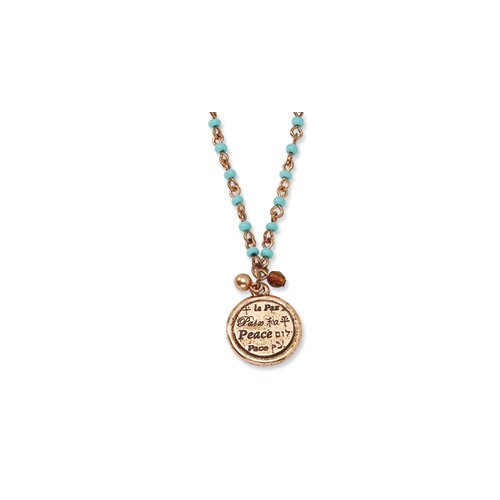 Copper-tone Aqua Beads Peace Pendant16inch With Ext Necklace