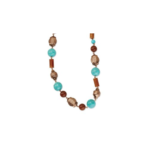 Copper-tone Aqua and Brown Beads 44inch Necklace