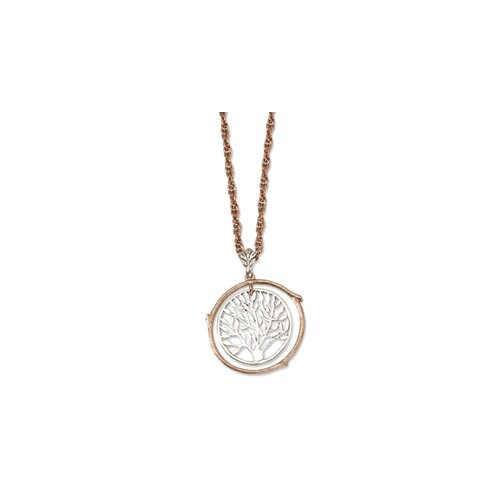 Copper-tone and Silver-tone Tree Pendant26inch Necklace