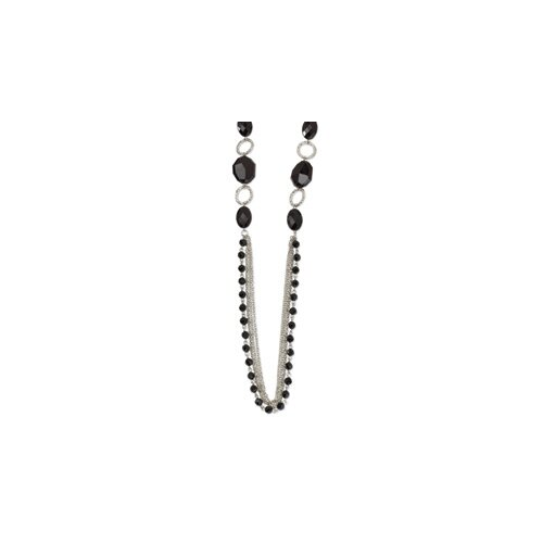 Silver-tone Multi Strand Black Crystal 36inch Necklace