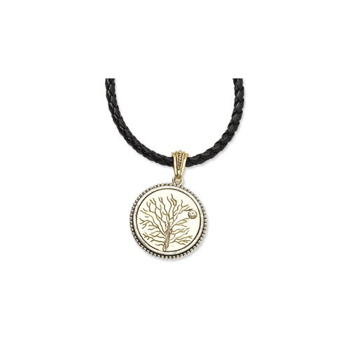 Brass-tone Give Life and Tree Reversible Pendant16inch Necklace