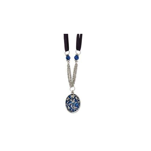 Jewelryweb Silver-tone Blue Epoxy 16inch With Ext Necklace