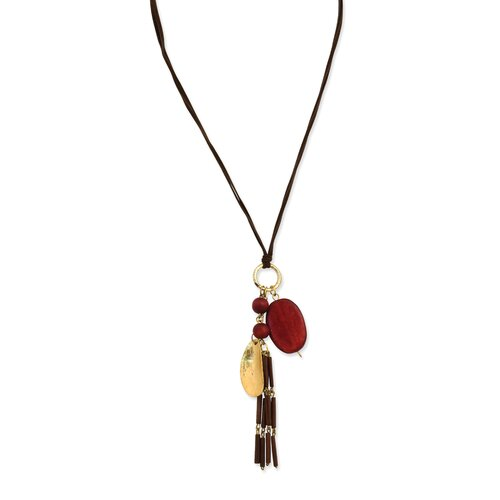 Jewelryweb Gold-tone and Brown Bamboo With Red Natural Wood Drop Necklace