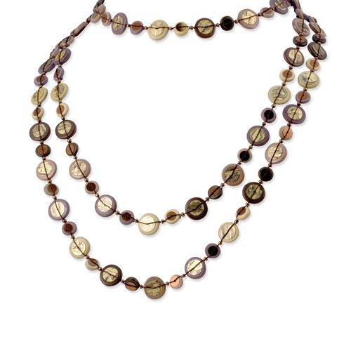 Jewelryweb Brown Purple Tan Hamba Wood 72inch Necklace