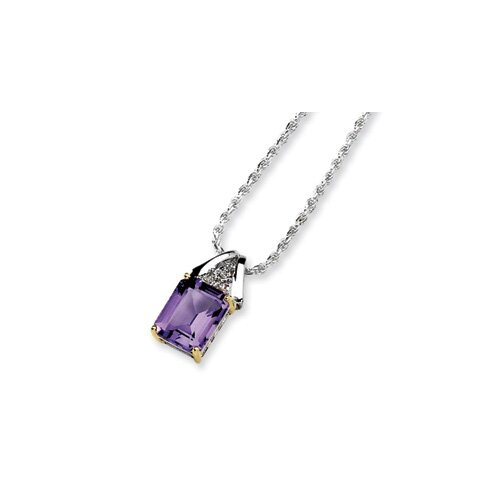 Sterling Silver and 14K Amethyst and Diamond Necklace - 18 Inch