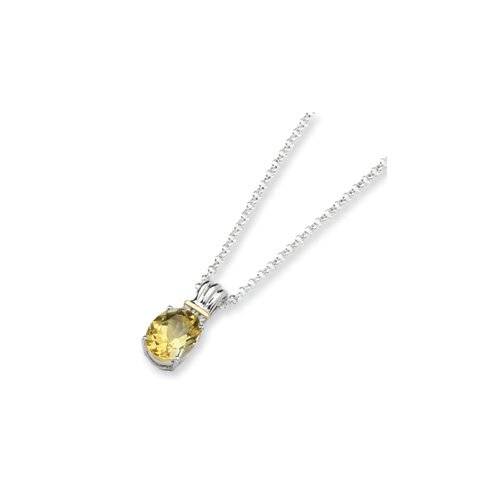 Jewelryweb Sterling Silver and 14K Citrine and Diamond Necklace - 18 Inch