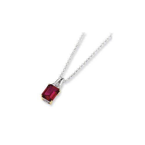 Sterling Silver and 14K Crimson Red Topaz and Diamond Necklace - 18 Inch