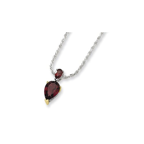 Jewelryweb Sterling Silver and 14K Garnet Necklace - 18 Inch