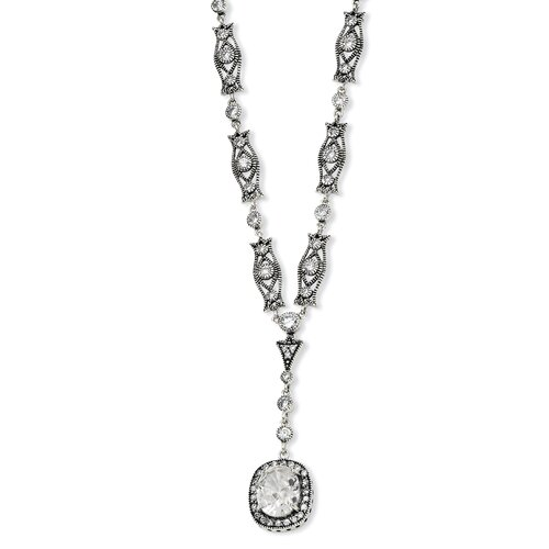 Sterling Silver Oval CZ Antiqued Y-drop Necklace - 17 Inch