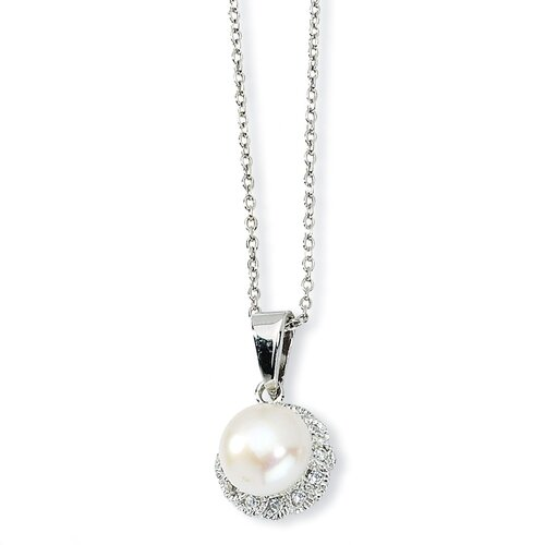 Jewelryweb Sterling Silver CZ White Cultured Pearl Necklace - 18 Inch