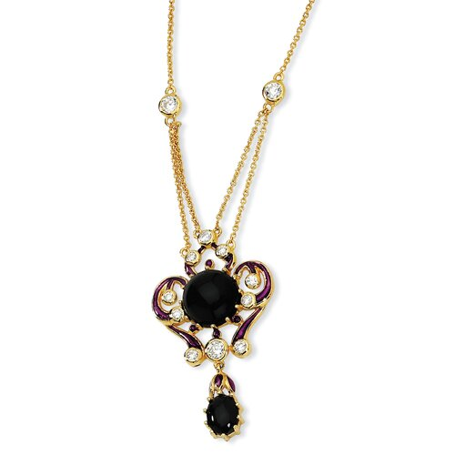 Gold-plated Sterling Silver Enameled Simul.Onyx and CZ Necklace - 18 Inch