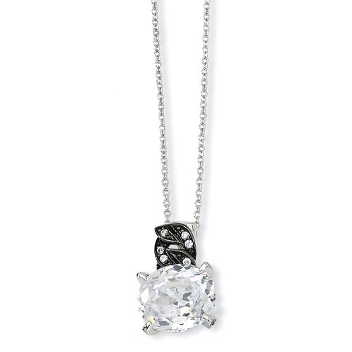 Sterling Silver and Black-plated 100-facet CZ Necklace - 18 Inch