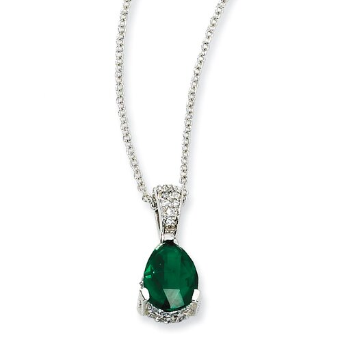 Jewelryweb Sterling Silver Rose-cut Pear Simulated Emerald and CZ Necklace - 18 Inch