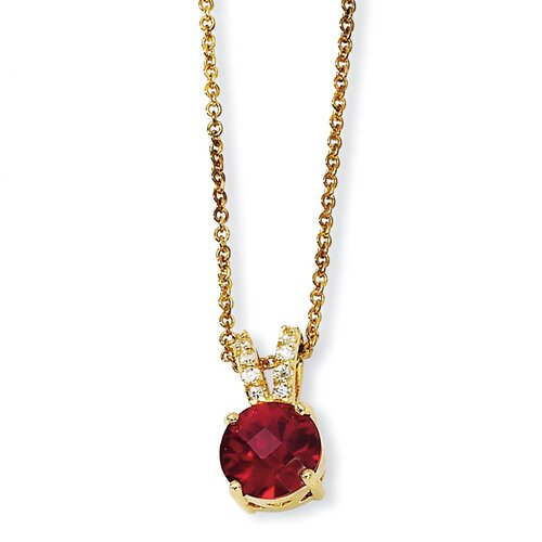 Gold-plated Sterling Silver Chckr-cut Synth Ruby CZ Necklace - 18 Inch