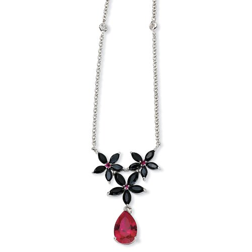 Sterling Silver Synth Ruby Blk CZ Floral Necklace - 18 Inch