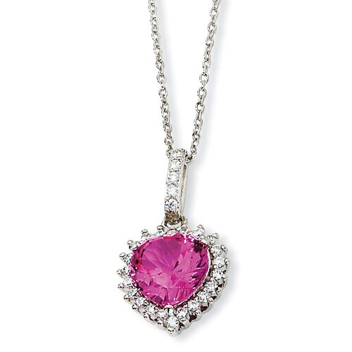 Sterling Silver 100-facet Heart Synth Pink Sapph CZ Necklace - 18 Inch