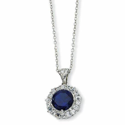Sterling Silver Synthetic Sapphire and CZ Necklace - 18 Inch