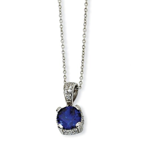Sterling Silver Rose-cut Synthetic Sapphire and CZ Necklace - 18 Inch