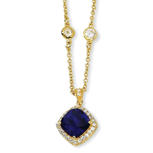 Gold-plated Sterling Silver Rose-cut Synth Sapphire CZ Necklace - 18 Inch