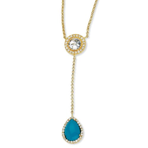 Gold-plated Sterling Silver Simulated Turquoise and CZ Necklace - 17 Inch