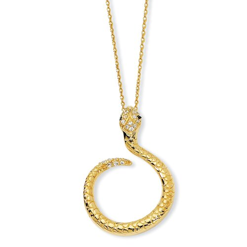 Jewelryweb Gold-plated Sterling Silver CZ Snake Necklace - 18 Inch