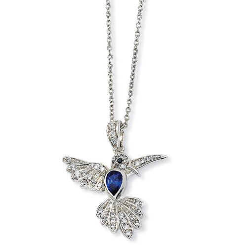 Sterling Silver CZ and Synthetic Sapphire Hummingbird Necklace - 18 Inch