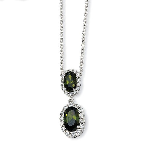 Jewelryweb Sterling Silver Oval Olive CZ Necklace - 18 Inch
