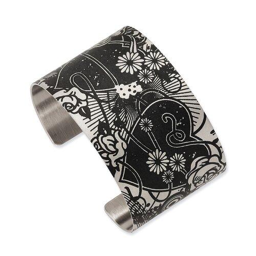 Stainless Steel Heart Pendants in Flight Cuff Bangle Bracelet