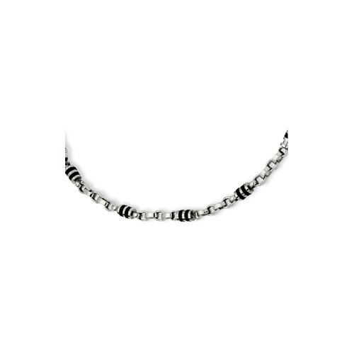 Jewelryweb Stainless Steel and Rubber Accent Barrel Link Necklace - 22 Inch