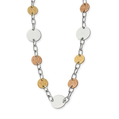 Jewelryweb Stainless Steel Gold and Rose IP Plated Circle Necklace - 24 Inch