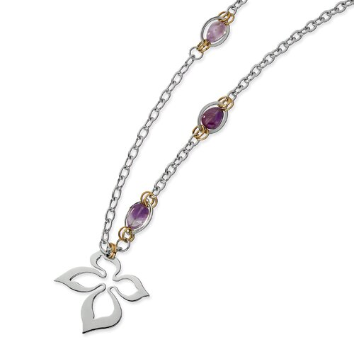 Stainless Steel Gold IP Plated and Amethyst Necklace - 28 Inch