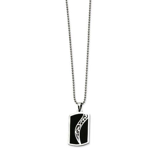Jewelryweb Stainless Steel Black Enamel Dog Tag PendantNecklace - 24 Inch