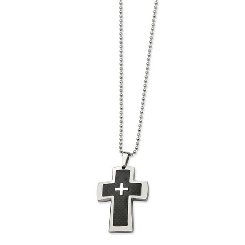 Stainless Steel Polished and Carbon Fiber Cross PendantNecklace - 22 Inch
