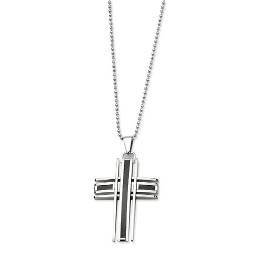 Stainless Steel Polished and Carbon Fiber Cross Pendant24 in. Necklace - 24 Inch