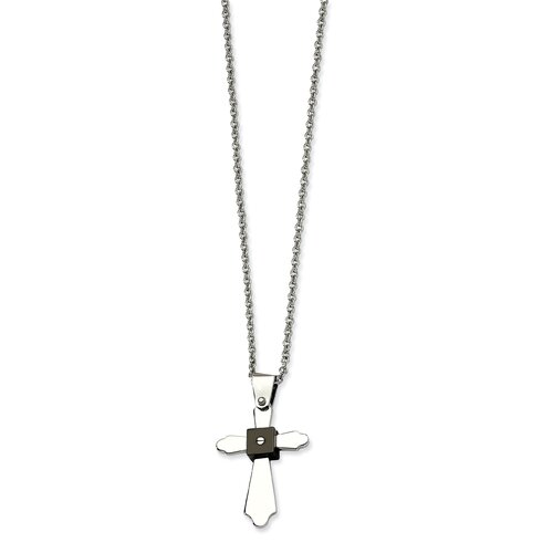 Jewelryweb Stainless Steel Polished and Black-plated Cross PendantNecklace - 22 Inch