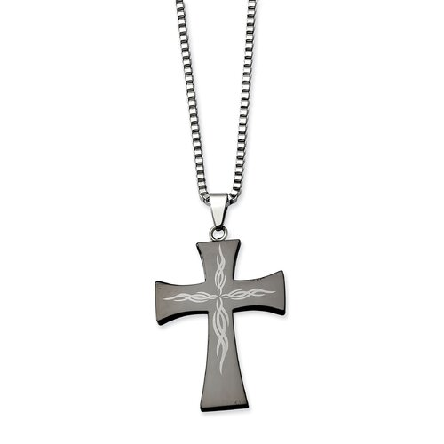 Jewelryweb Stainless Steel Fancy Scroll Black-plated Cross PendantNecklace - 26 Inch
