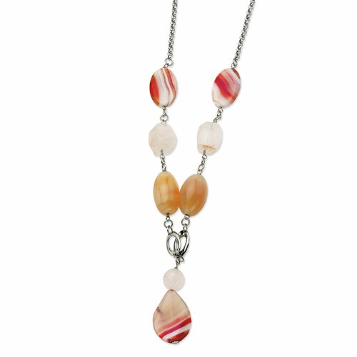 Jewelryweb Stainless Steel Pink Quartz and Agate 24 With 1inch ext. Necklace - 24 Inch