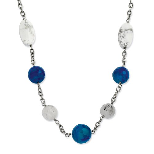 Jewelryweb Stainless Steel Blue Jade Green Agate and Howlite 26 With 2inch ext. Necklace - 26 Inch