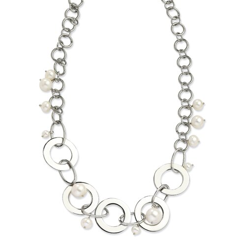 Stainless Steel Circles and Fresh Water Cultured Pearls necklace - 20 Inch