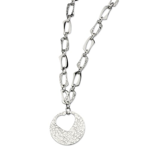 Jewelryweb Stainless Steel Polished and Textured With Heart Cutout Pendant22 w/ 2inch Ext N - 22 Inch