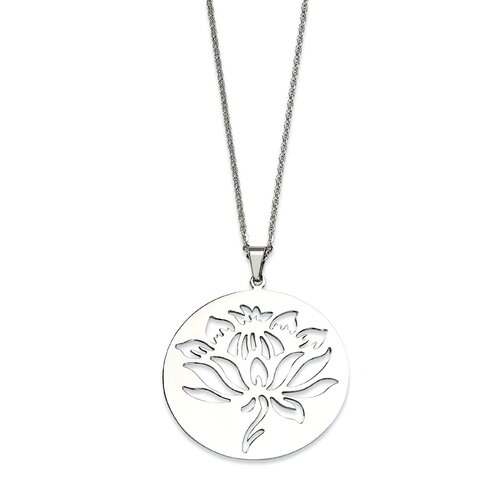 Jewelryweb Stainless Steel Flower Cutout PendantNecklace - 22 Inch
