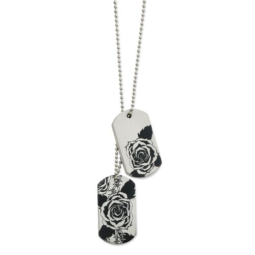 Jewelryweb Stainless Steel Wired Rose Dog Tag Necklace - 24 Inch
