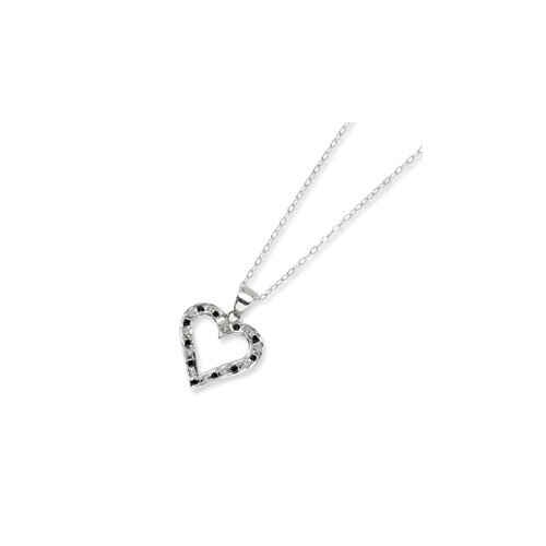 Jewelryweb Sterling Silver Diamond Mystique B and W Dia. 18inch Heart Necklace