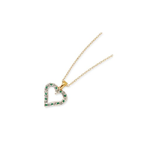 Sterling Silver and Gold-plated Dia. and Emerald 18inch Heart Necklace